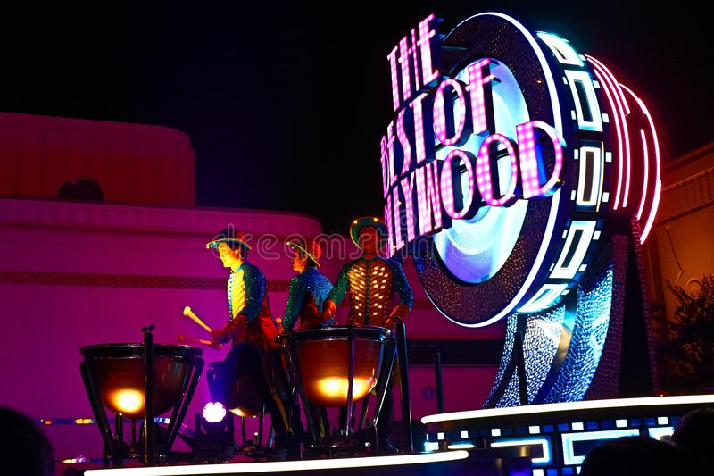 First float of the new revolutionary night`s UNIVERSAL SPECTACLE NIGHT parade stock images