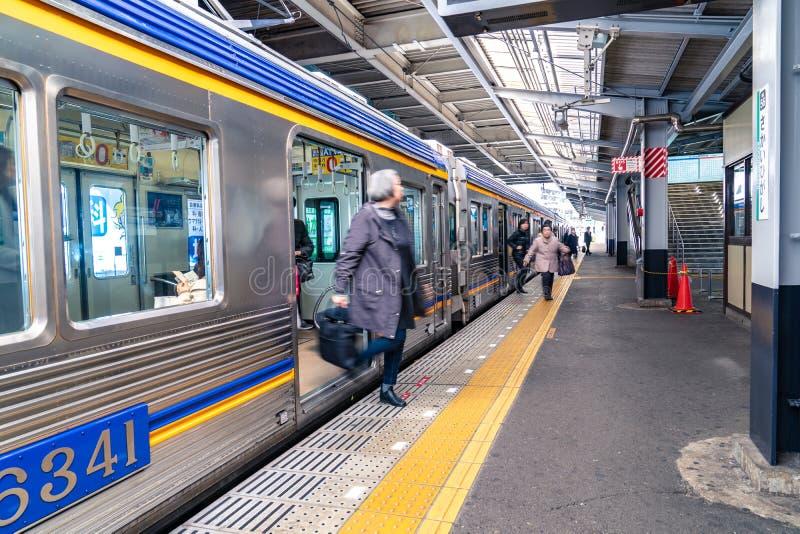 Osaka, Japan - 3 Mar 2018: Train station and platform environment  at Sakaihigashi Station in the afternoon, Osaka, Japan stock photo