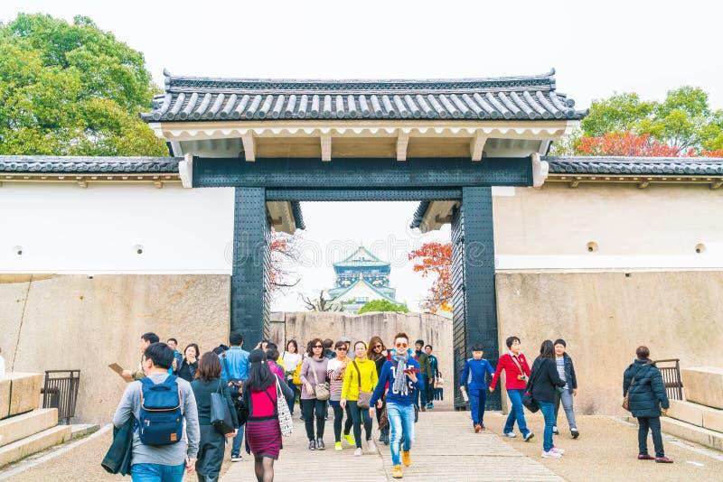 OSAKA, JAPAN - NOV 20 : Visitors crowded at Osaka Castle Park. I. T is a public urban park and historical site situated at Osaka, Japan stock photos