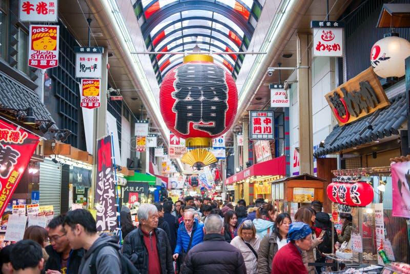 Osaka, Japan - November 19, 2017 :Many tourist at Kuromon Ichiba fish market. The Kuromon Ichiba Market is a large market and mos stock image