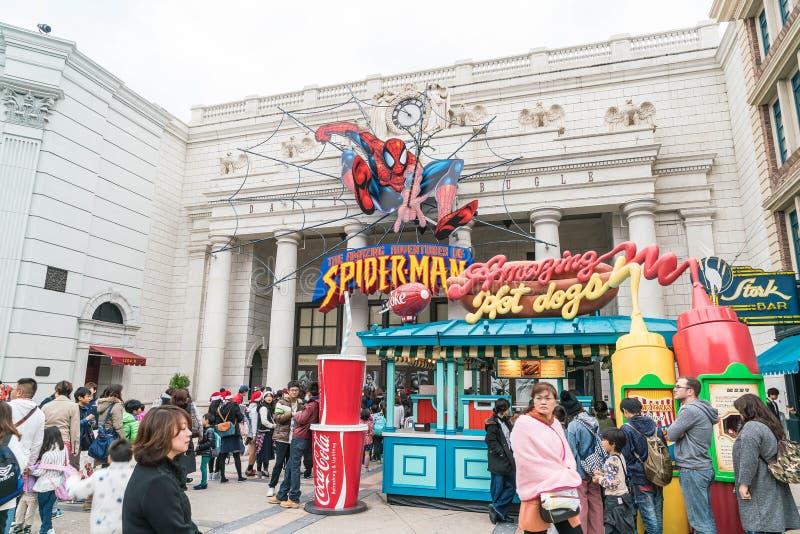 Osaka Japan - NOVEMBER 21 2016: Spidermanritt på den universella jordklotnollan fotografering för bildbyråer