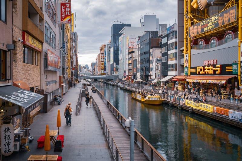 Tombori River Walk near the famous Dotonbori Street. Osaka, Japan -November 1, 2018: Tombori River Walk near the famous Dotonbori Street - Popular riverside stock image