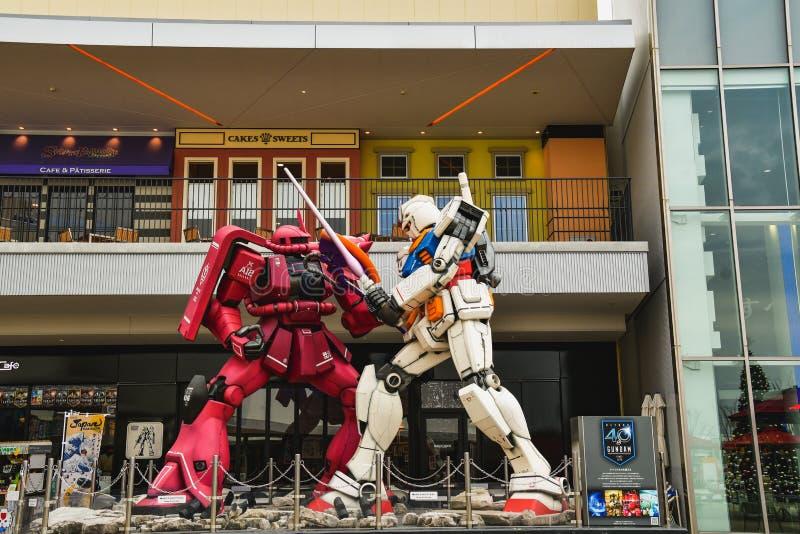 OSAKA, JAPONIA - 27 listopada 2019 r.: Model gundam show front Gundum cafe in the LaLaport EXPO CITY obraz stock