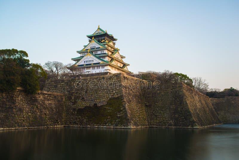 Osaka kasztel przy świtem w Osaka mieście obrazy royalty free