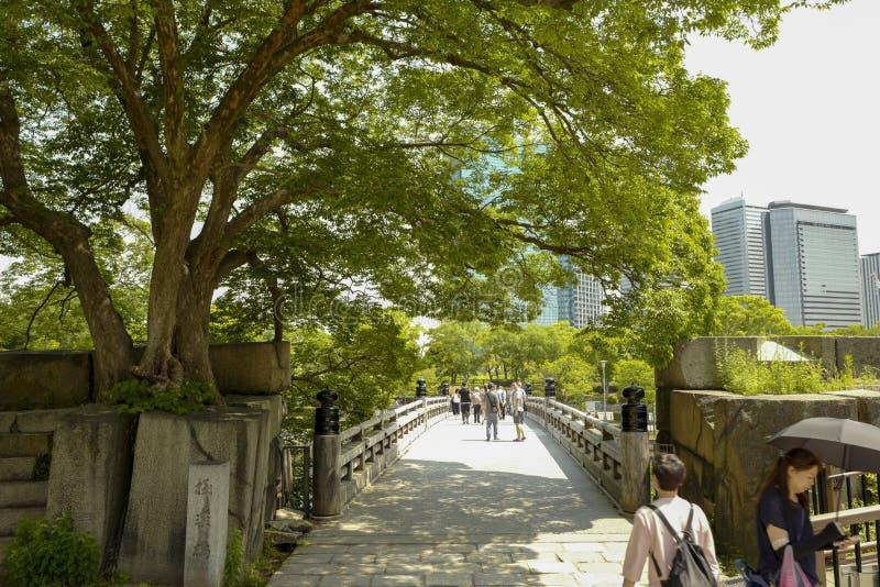 Osaka kasztelu park Osaka kasztel jest jeden Japan?s najwi?cej s?awnych punkt?w zwrotnych zdjęcie stock