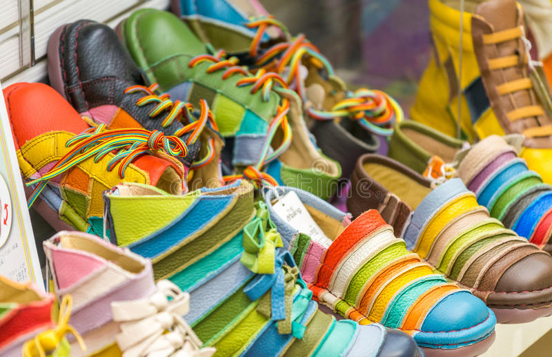 OSAKA - MAY 26, 2016: The Maling colourful shoes shop. It is a f stock photography