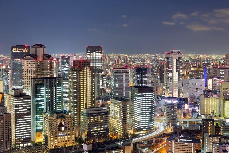 Osaka miasta nocy światła, Japonia obrazy stock