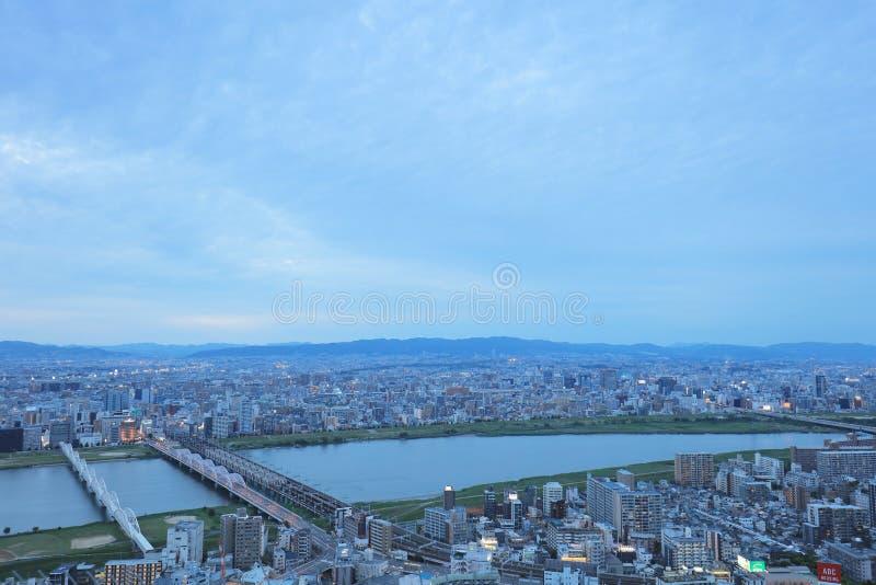 Osaka miastowy miasto i Yodo rzeka od dachu widoku obraz royalty free