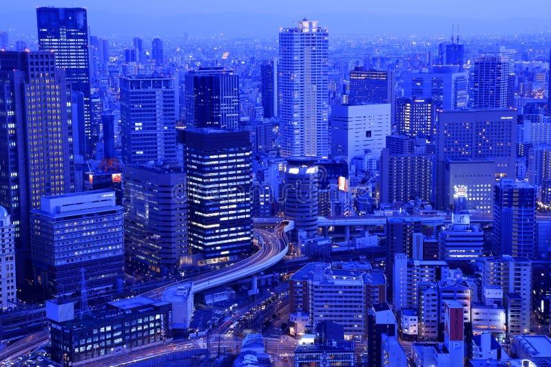 Osaka-Nachtansicht herein, Osaka City stockbild