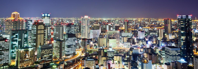 Osaka. Night view of Osaka city skyline stock photos