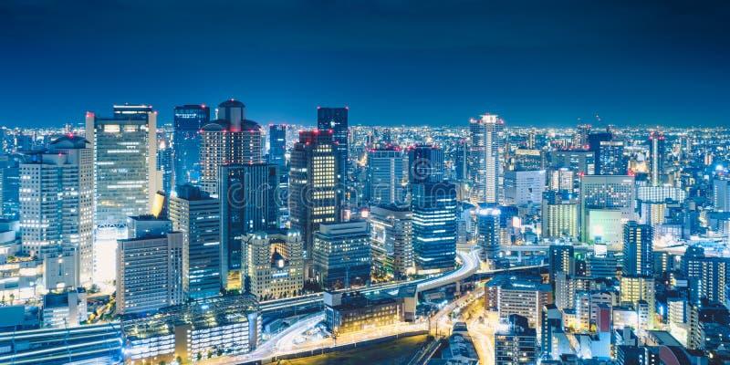 Osaka nocy widok od Umeda nieba budynku w Kita oddziale, Osaka, Japonia zdjęcie royalty free