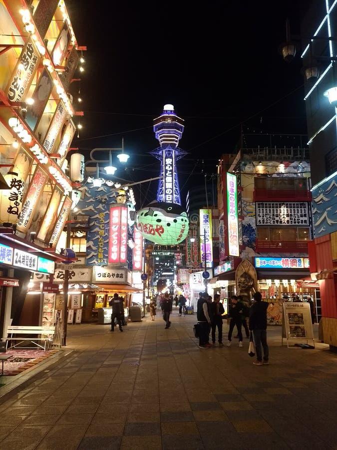 Osaka, notte nel GIAPPONE fotografie stock libere da diritti