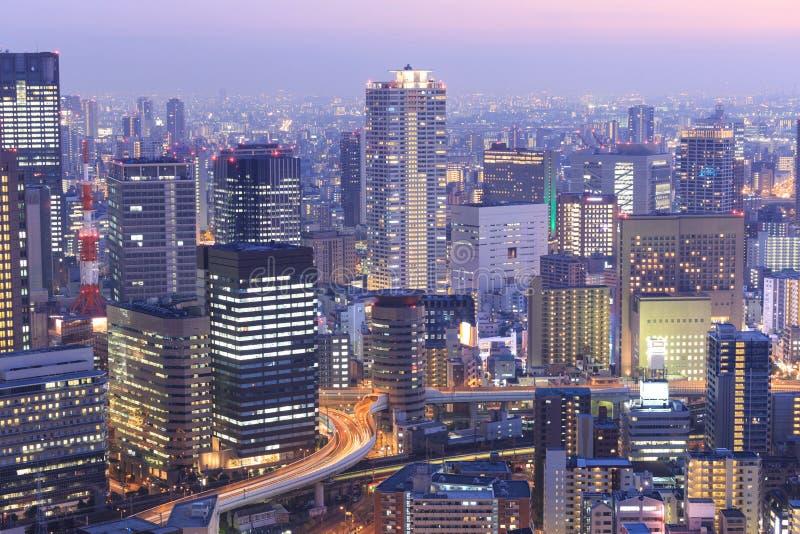 Osaka od najwyższego piętra wysoki budynek w grodzkim Symphon obrazy royalty free