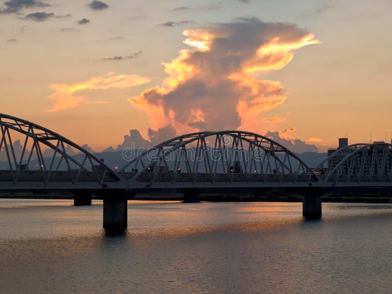Osaka river at dusk royalty free stock image