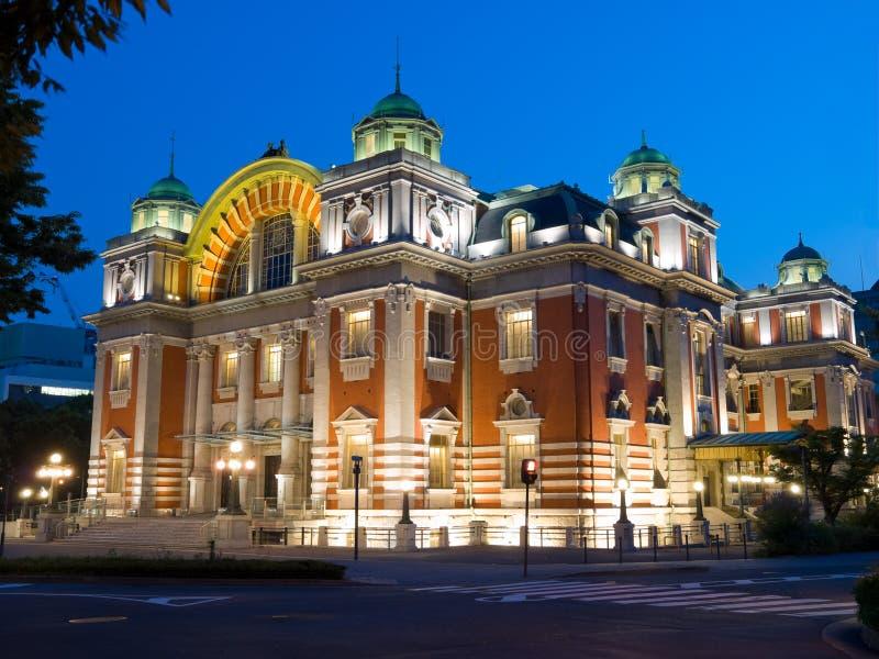 Osaka salão público central na noite foto de stock royalty free