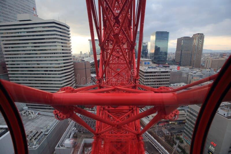 Osaka sightsikt från ferrishjulet för hev fem arkivbild