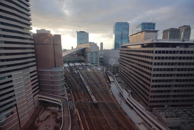 Osaka sightsikt från ferrishjulet för hev fem arkivfoto