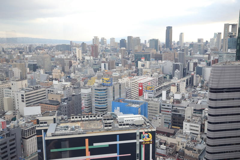 Osaka sightsikt från ferrishjulet för hev fem royaltyfri bild