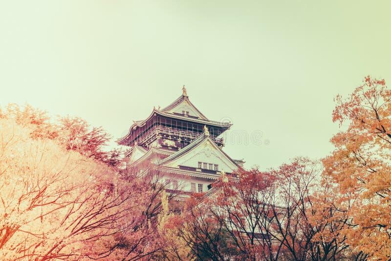 Osaka slott i Osaka Japan (filtrerad bilden bearbetad tappning e arkivfoto