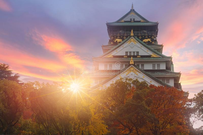 Osaka slott under höst i Japan royaltyfri foto