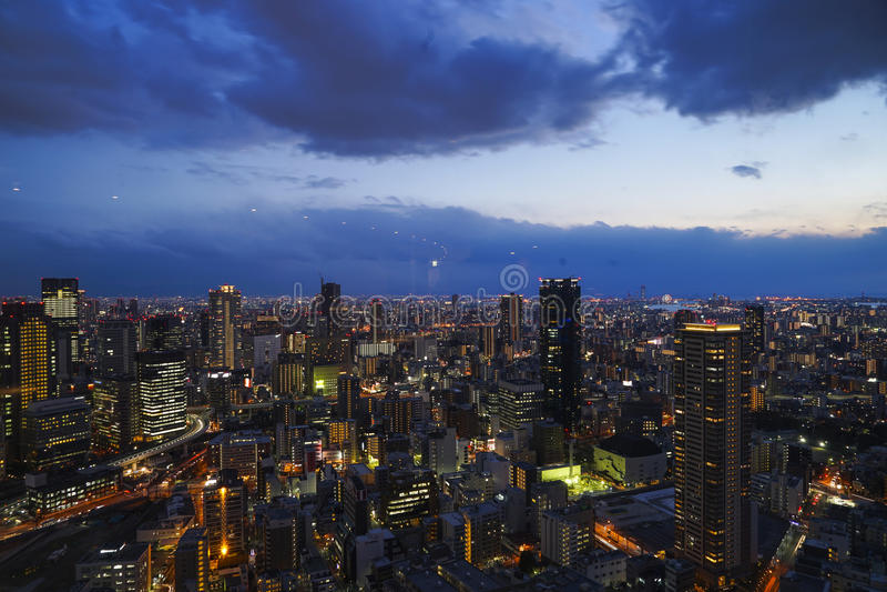 Osaka umeda night stock photography