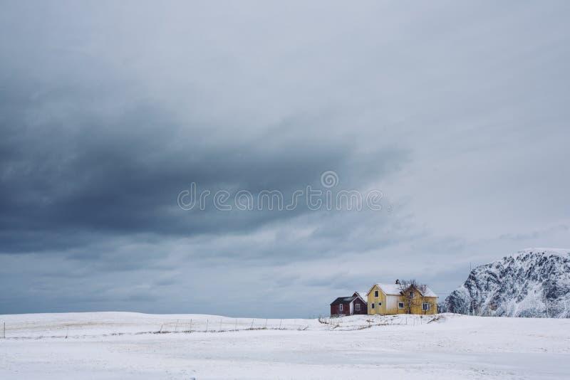 Osamotneni domy w zima czasie obrazy stock