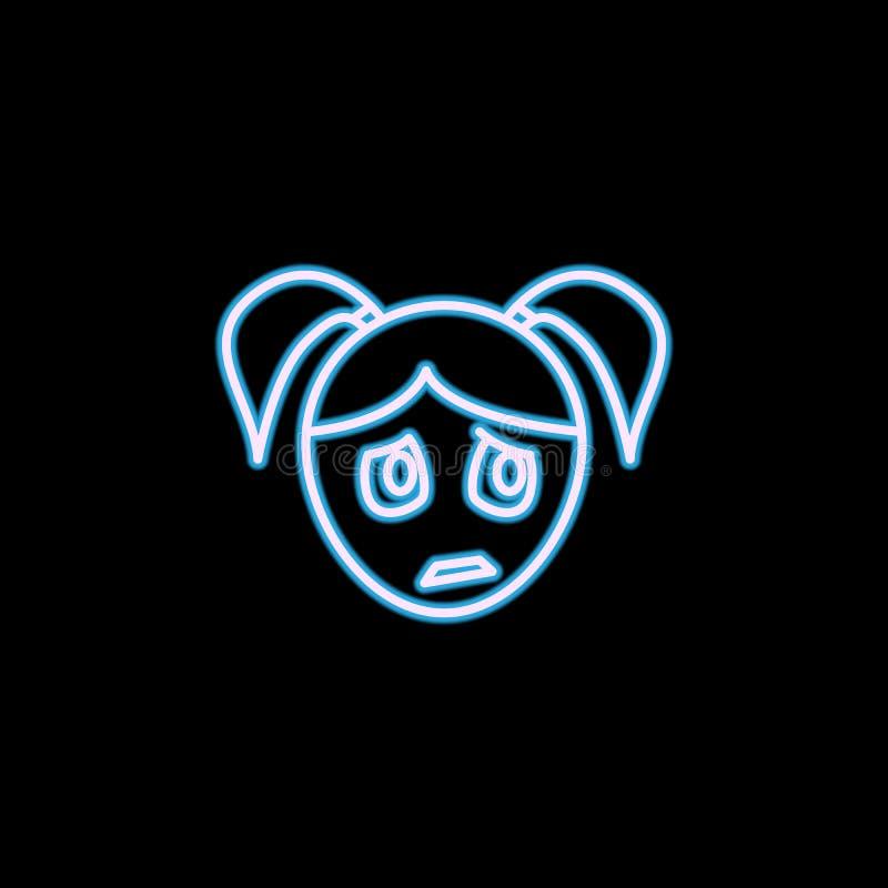 osamotniona dziewczyny twarzy ikona w neonowym stylu Jeden emoci inkasowa ikona może używać dla UI, UX royalty ilustracja