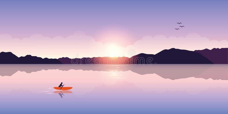 Osamotniona kajakarstwo przygoda z pomarańczową łodzią przy wschód słońca na jeziorze royalty ilustracja