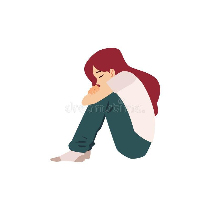 Osamotniona kobieta siedzi na podłogowym cierpieniu od depresji lub związku przerwy royalty ilustracja