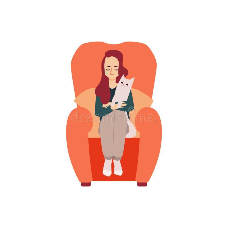 Osamotniona nieszczęśliwa kobieta z kotem cierpi od depresji lub związek awarii ilustracji