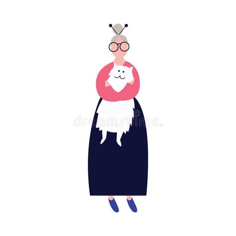 Osamotniona stara kobieta ściska jej kot płaską wektorową ilustrację odizolowywającą na tle ilustracji