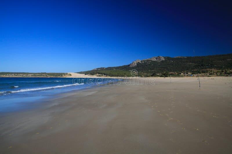 Osamotniona szeroka plaża w ranku podczas niskiego przypływu - Zahara delos Atunes przy Costa De Los angeles Luz, Hiszpania zdjęcie stock