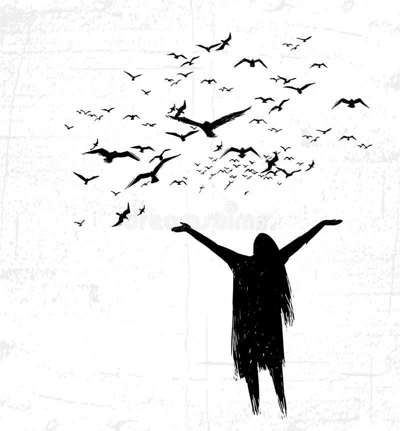 Osamotnione dziewczyny otwarcia ręki w kierunku ptaków ilustracji