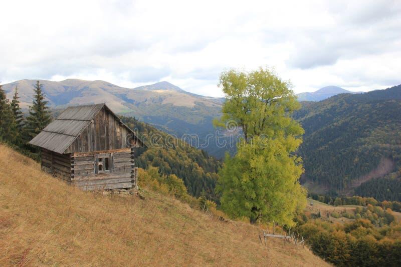 Osamotniony dom na zboczu, Carpathians obraz royalty free