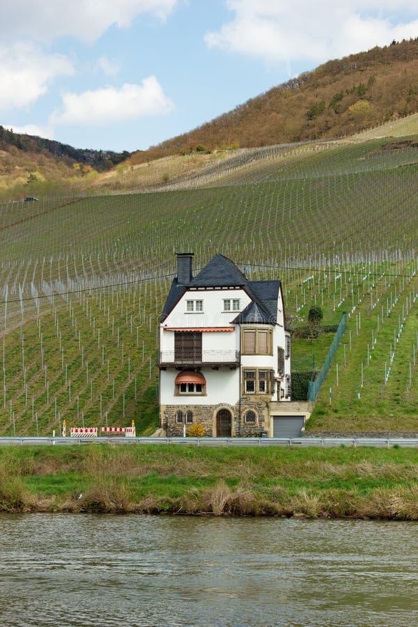 Osamotniony dom w winogradów jardach Bernkastel-Kues w Niemcy zdjęcie stock