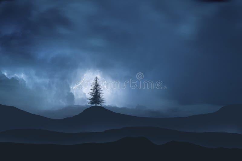 Osamotniony drzewo na tle góry z błyskawicą obrazy stock
