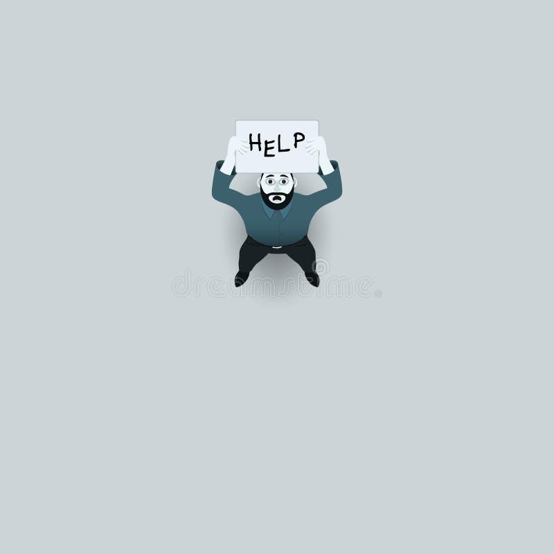 Osamotniony i smutny mężczyzna w zmroku W rękach plakat z teksta «pomocą ` wektoru ilustracja ilustracji