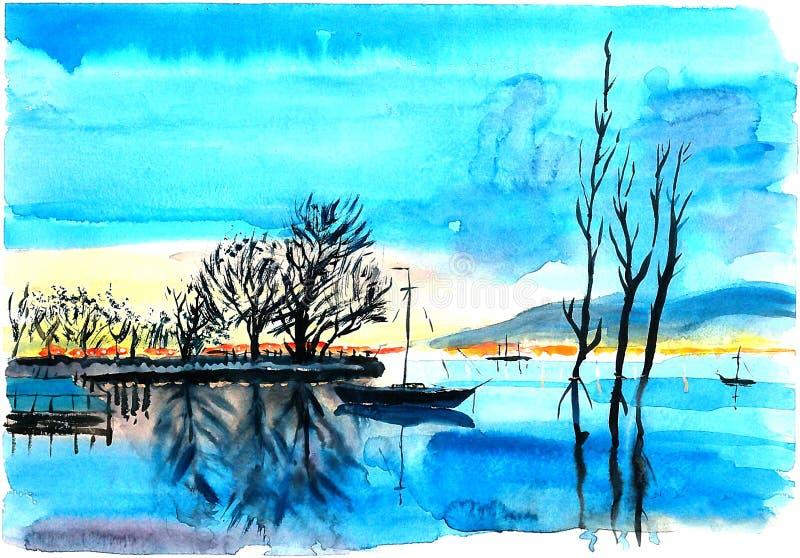 Osamotniony jacht na jeziorze ilustracja wektor