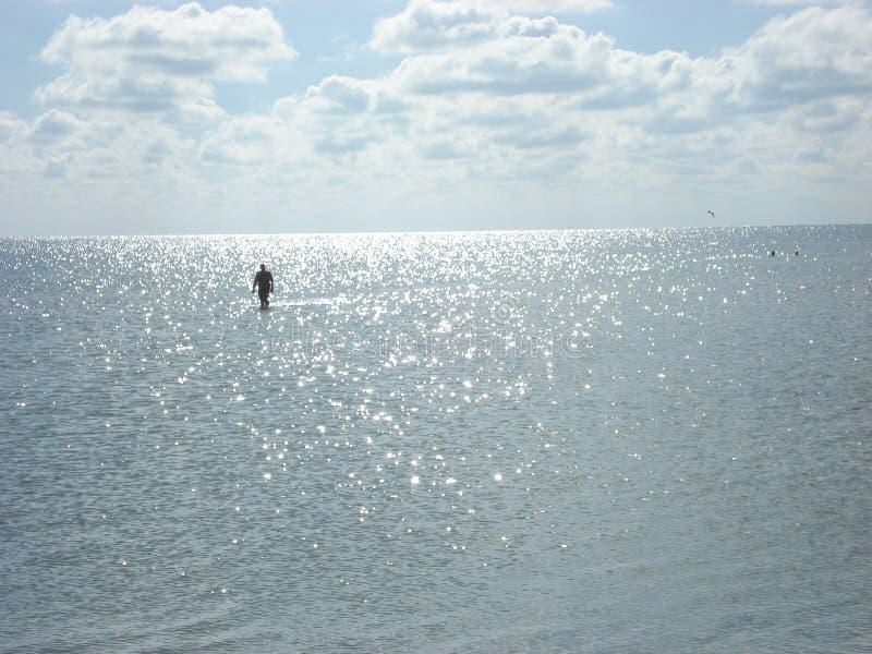 Osamotniony mężczyzna odprowadzenie w lata morzu zdjęcia royalty free
