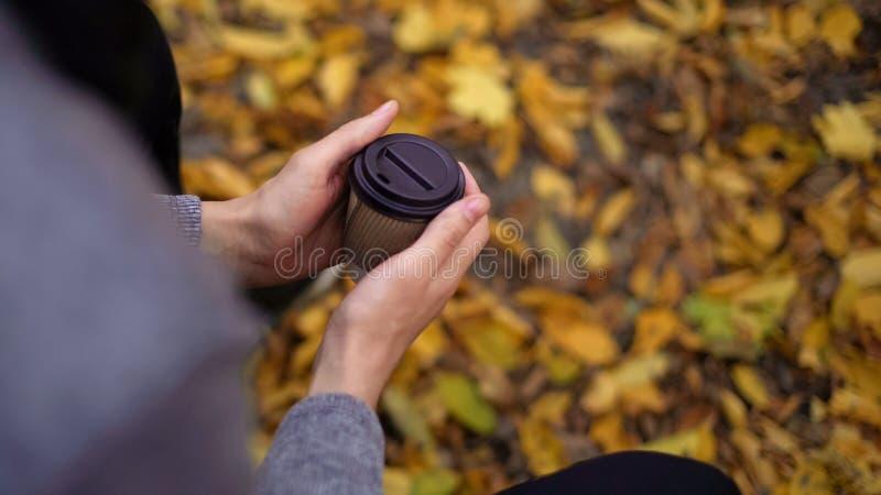 Osamotniony nagrzanie marznąć facet ręki z gorącym napojem, złamane serce w zimnej jesieni fotografia stock