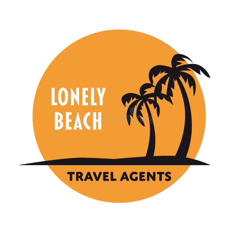 Osamotniony plażowy wektorowy logo szablon ilustracja wektor