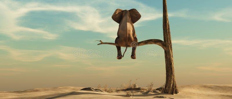 Osamotniony słoń na drzewie ilustracji