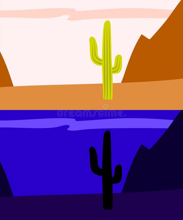 Osamotniony saguaro kaktus w pustyni, dnia i nocy widoku, wektor royalty ilustracja