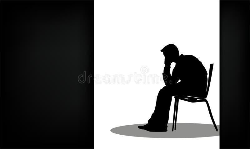 Osamotniony uczucie jest objawem depressive nieład ilustracja wektor