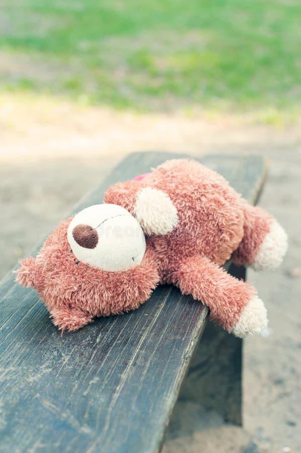 Osamotniony zapominający miś zabawki lying on the beach na ławce zdjęcie royalty free