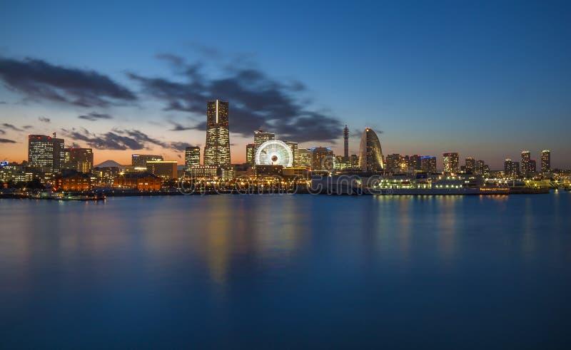 Osanbashi Yokohama. Yokohama city night view with little Fujiyama in it royalty free stock photography