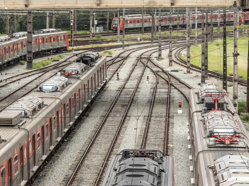 Trains parked in the maneuvering yard of the Presidente Altino Station in Osaco. Osasco, Brazil, November 05, 2018. Trains parked in the maneuvering yard of the stock image