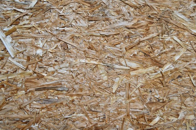 OSB plate consisting of pressed pine tree chips. Background can be stock image