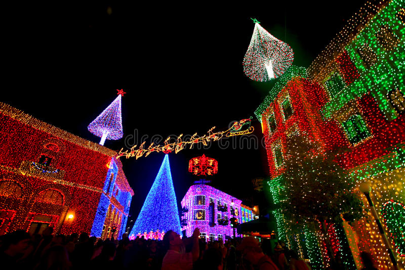 The Osborne Family Spectacle of Dancing Lights. At Hollywood Studios in Disney World, Orlando, Florida, December 16th 2009 stock photos