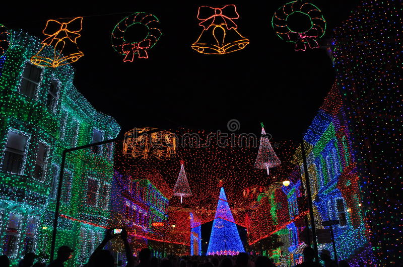 The Osborne Family Spectacle of Dancing Lights at Disney Hollywood Studios. The Osborne Family Spectacle of Dancing Lights is a display of Christmas lights and stock image